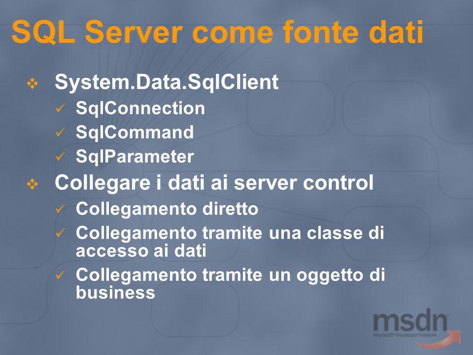 SQL Server come fonte dati
