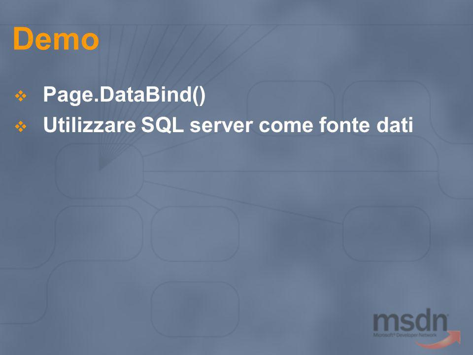Demo Page.DataBind() Utilizzare SQL server come fonte dati