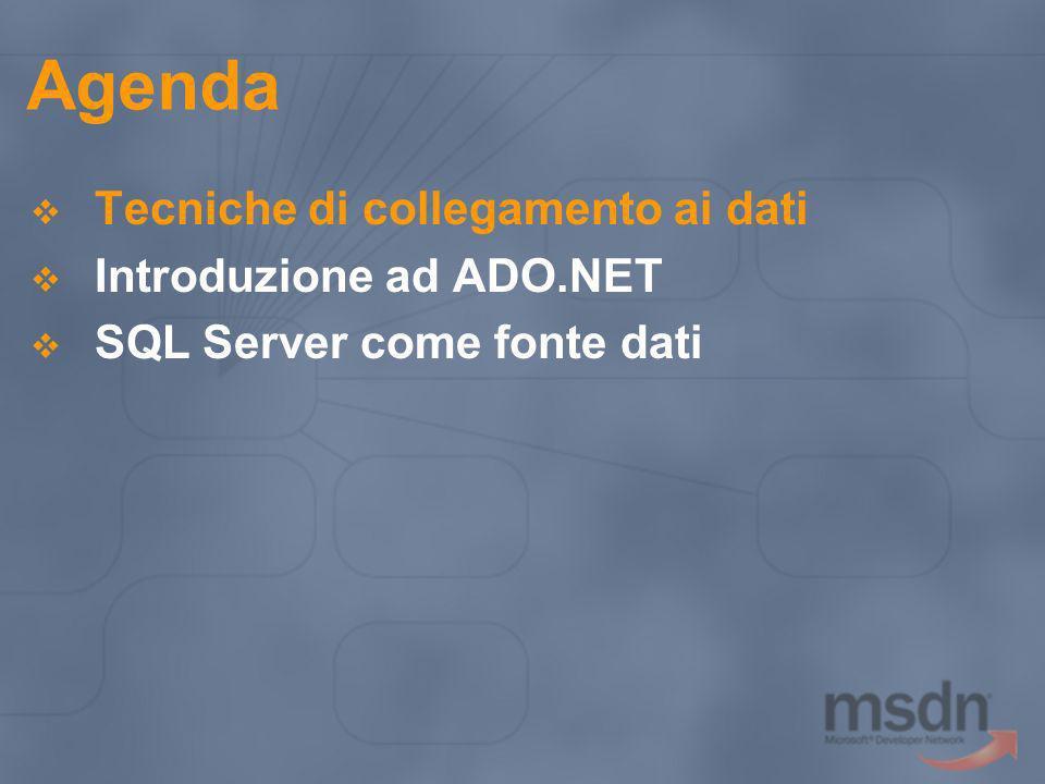 Agenda Tecniche di collegamento ai dati Introduzione ad ADO.NET
