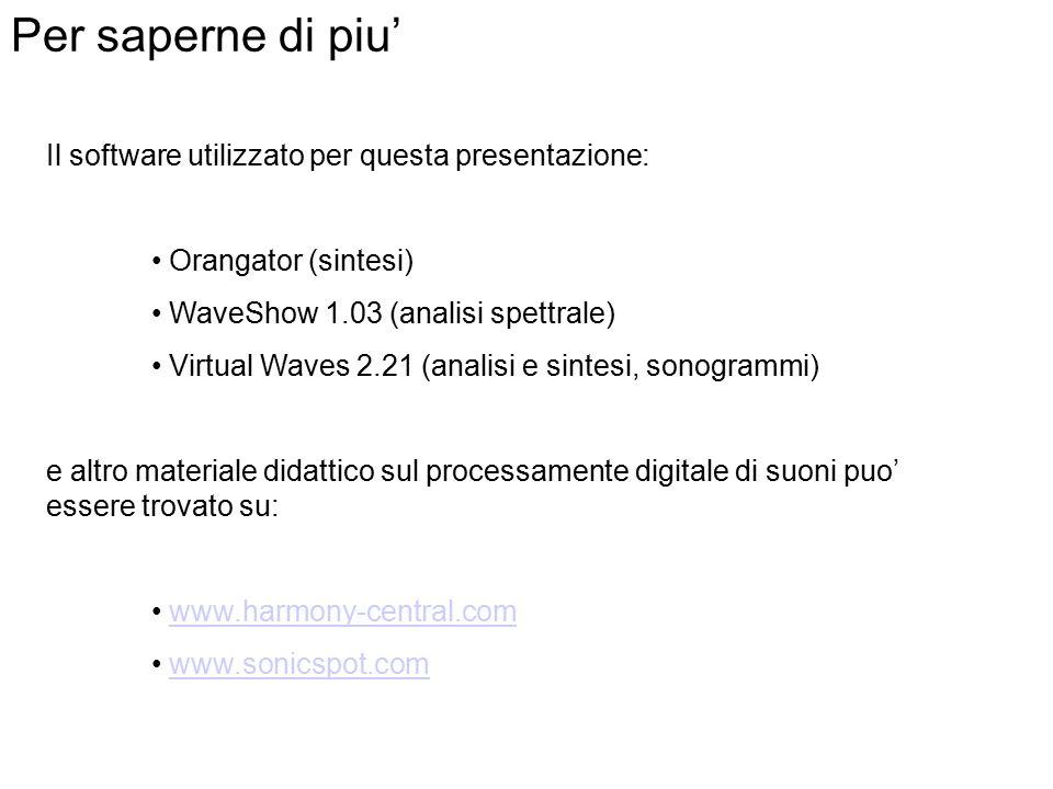 Per saperne di piu' Il software utilizzato per questa presentazione: