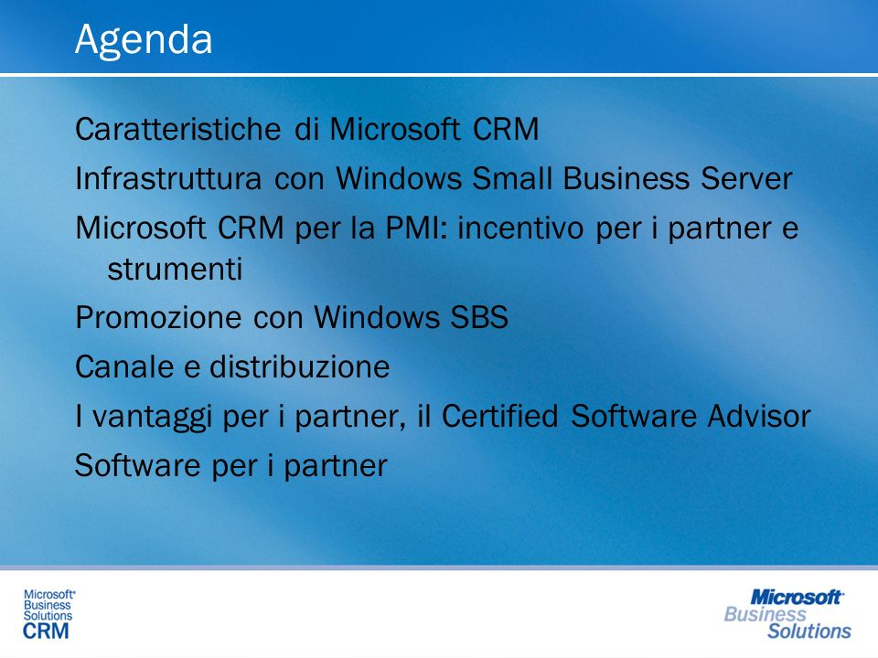 Agenda Caratteristiche di Microsoft CRM