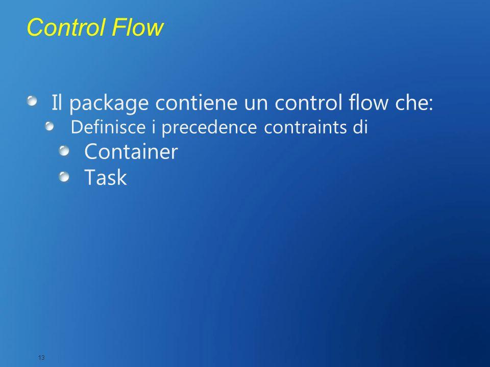 Control Flow Il package contiene un control flow che: Container Task