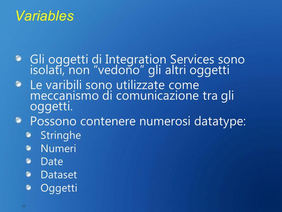 3/27/2017 2:28 AM Variables. Gli oggetti di Integration Services sono isolati, non vedono gli altri oggetti.