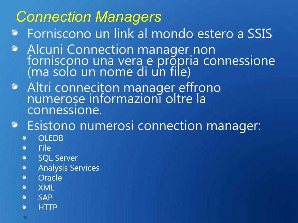 Connection Managers Forniscono un link al mondo estero a SSIS