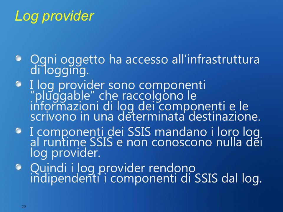 Log provider Ogni oggetto ha accesso all'infrastruttura di logging.