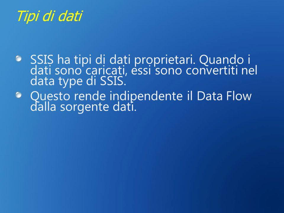 3/27/2017 2:28 AM Tipi di dati. SSIS ha tipi di dati proprietari. Quando i dati sono caricati, essi sono convertiti nel data type di SSIS.
