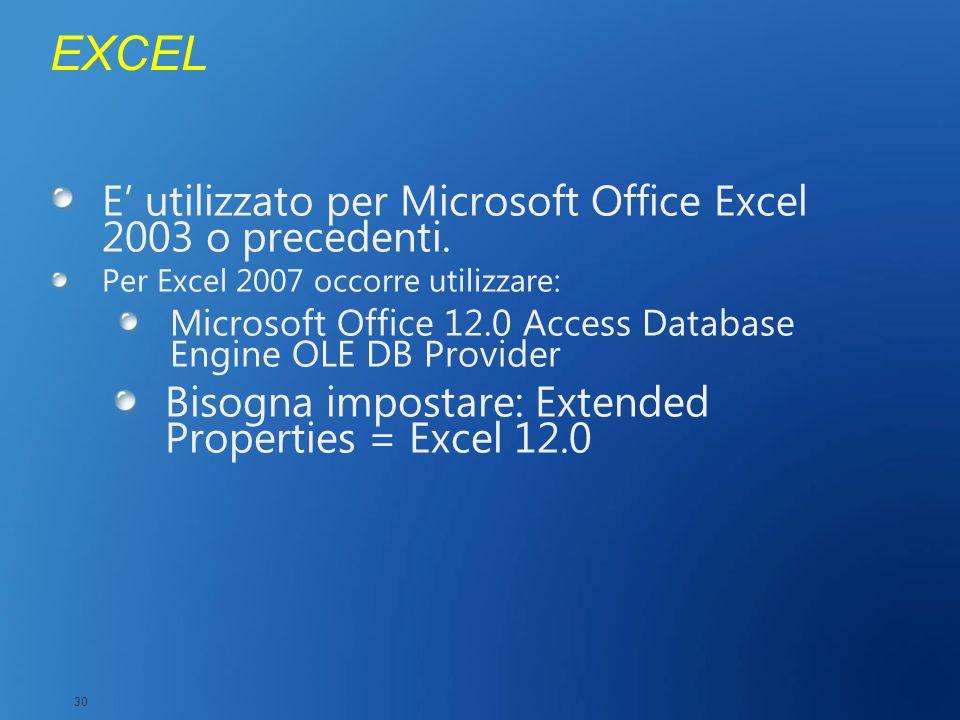 EXCEL E' utilizzato per Microsoft Office Excel 2003 o precedenti.