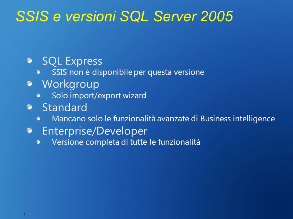 SSIS e versioni SQL Server 2005