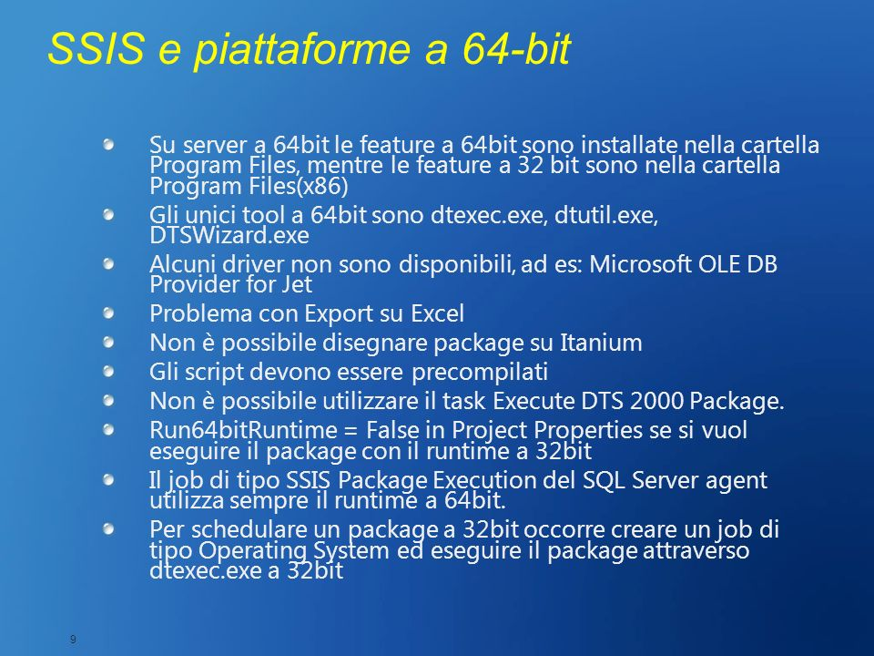 SSIS e piattaforme a 64-bit