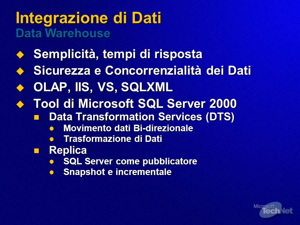 Integrazione di Dati Data Warehouse