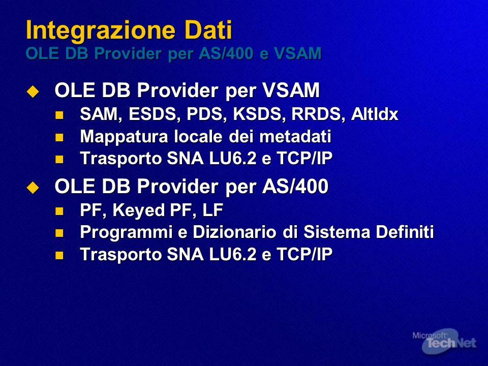 Integrazione Dati OLE DB Provider per AS/400 e VSAM