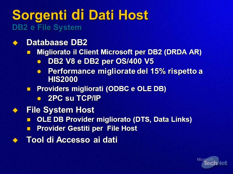 Sorgenti di Dati Host DB2 e File System