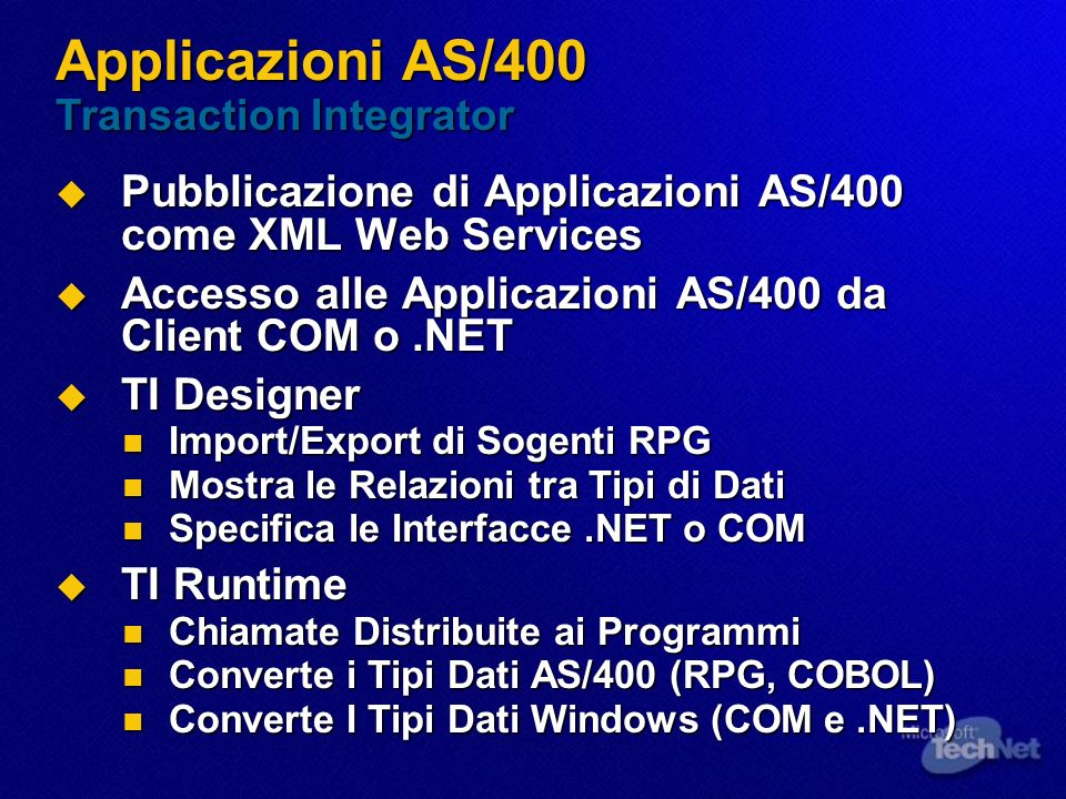 Applicazioni AS/400 Transaction Integrator