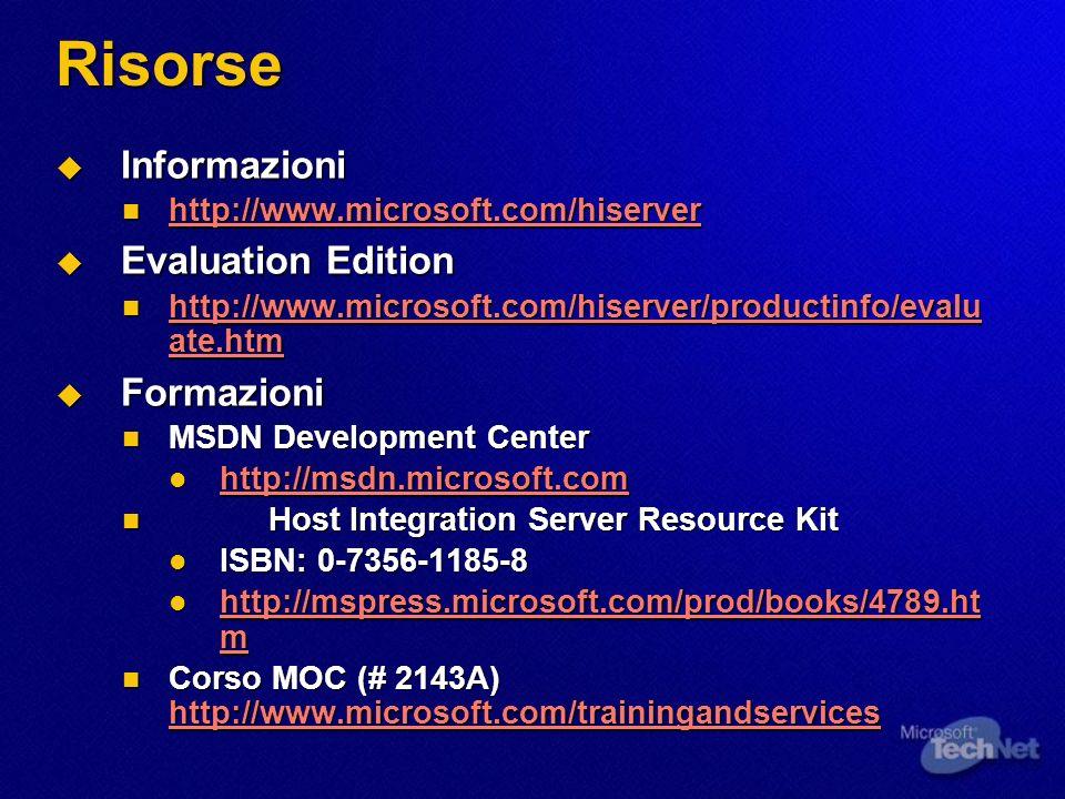 Risorse Informazioni Evaluation Edition Formazioni