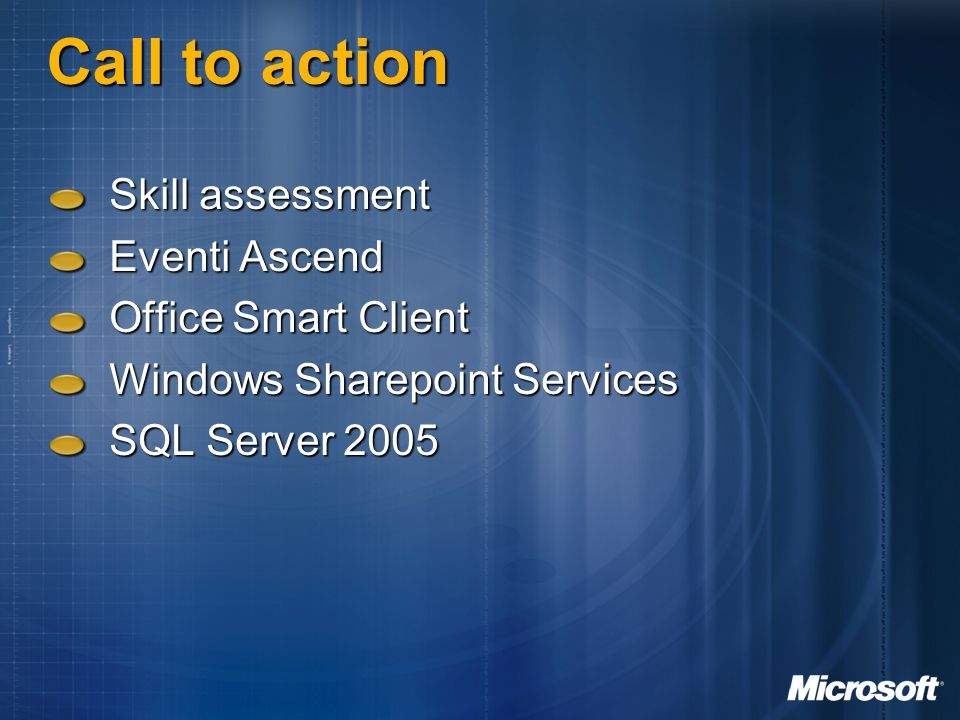 Call to action Skill assessment Eventi Ascend Office Smart Client
