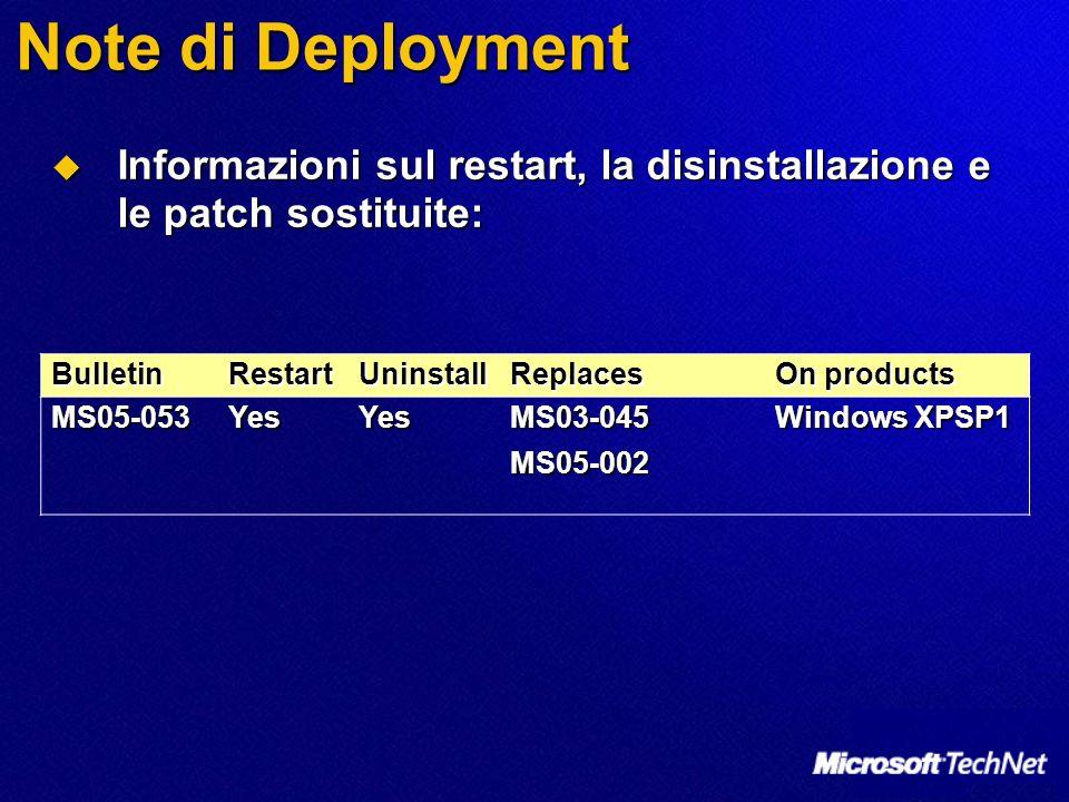 Note di Deployment Informazioni sul restart, la disinstallazione e le patch sostituite: Bulletin. Restart.