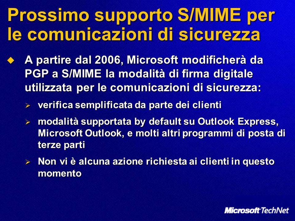 Prossimo supporto S/MIME per le comunicazioni di sicurezza