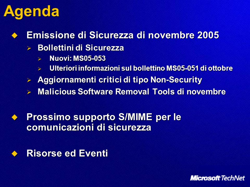 Agenda Emissione di Sicurezza di novembre 2005