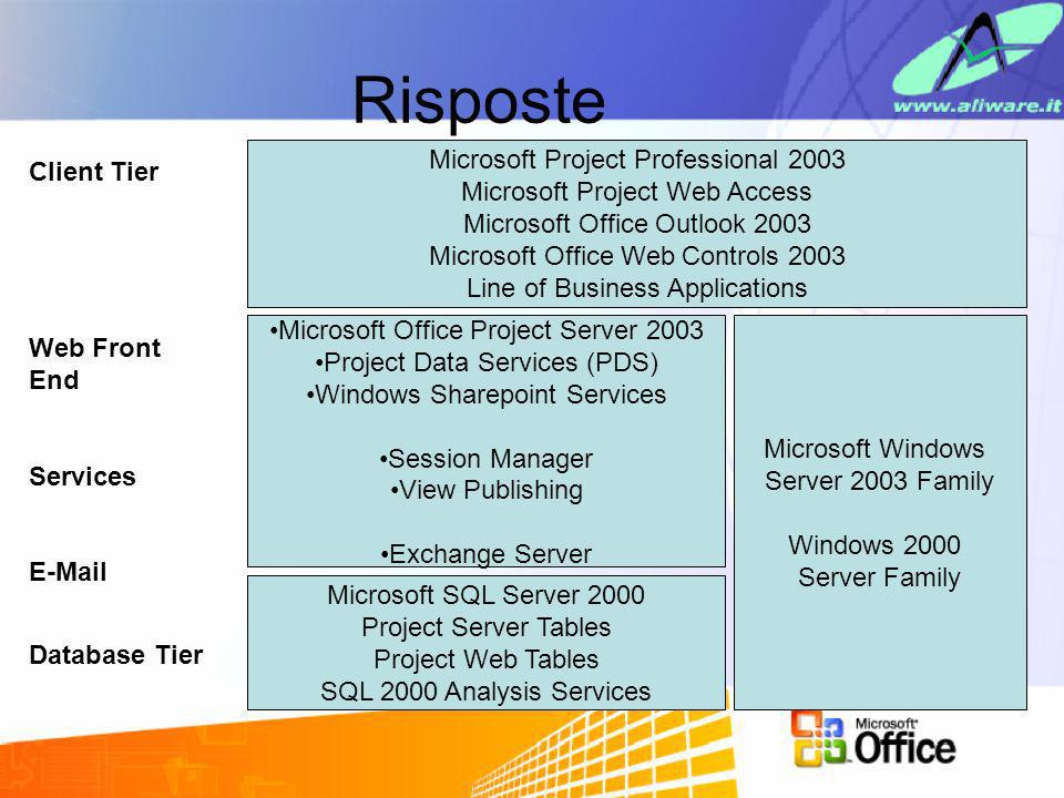 Risposte Microsoft Project Professional 2003 Client Tier