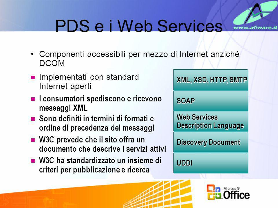 PDS e i Web Services Componenti accessibili per mezzo di Internet anziché DCOM. Implementati con standard Internet aperti.