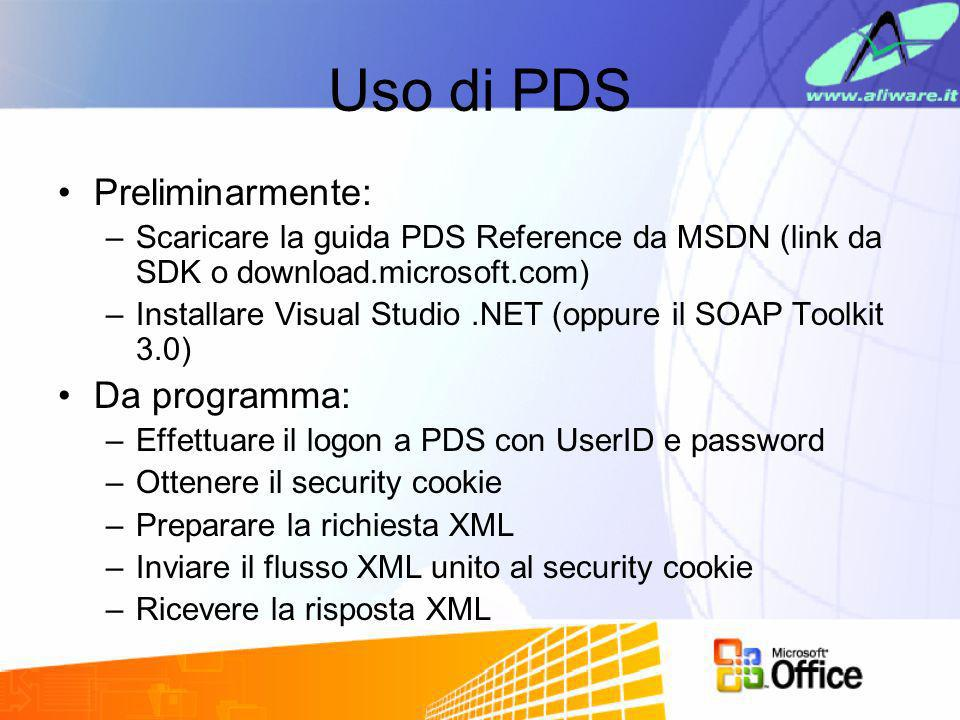 Uso di PDS Preliminarmente: Da programma: