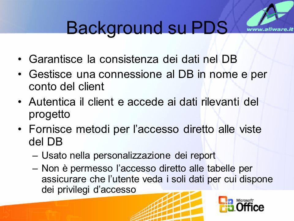 Background su PDS Garantisce la consistenza dei dati nel DB