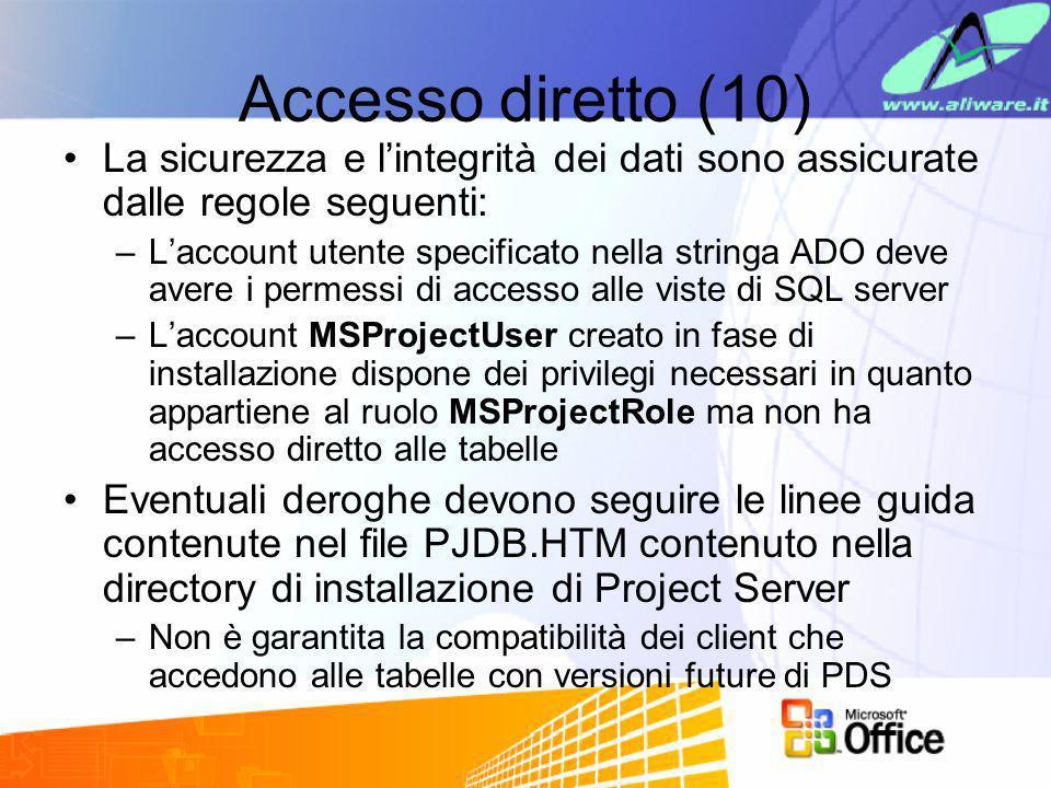 Accesso diretto (10) La sicurezza e l'integrità dei dati sono assicurate dalle regole seguenti: