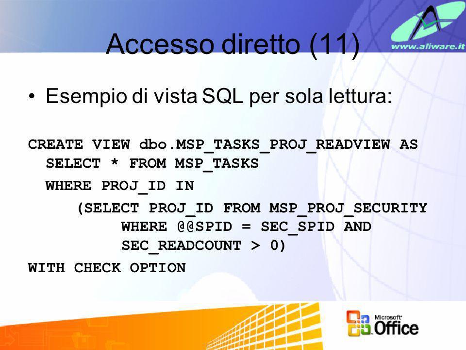 Accesso diretto (11) Esempio di vista SQL per sola lettura: