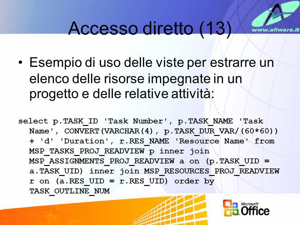 Accesso diretto (13) Esempio di uso delle viste per estrarre un elenco delle risorse impegnate in un progetto e delle relative attività: