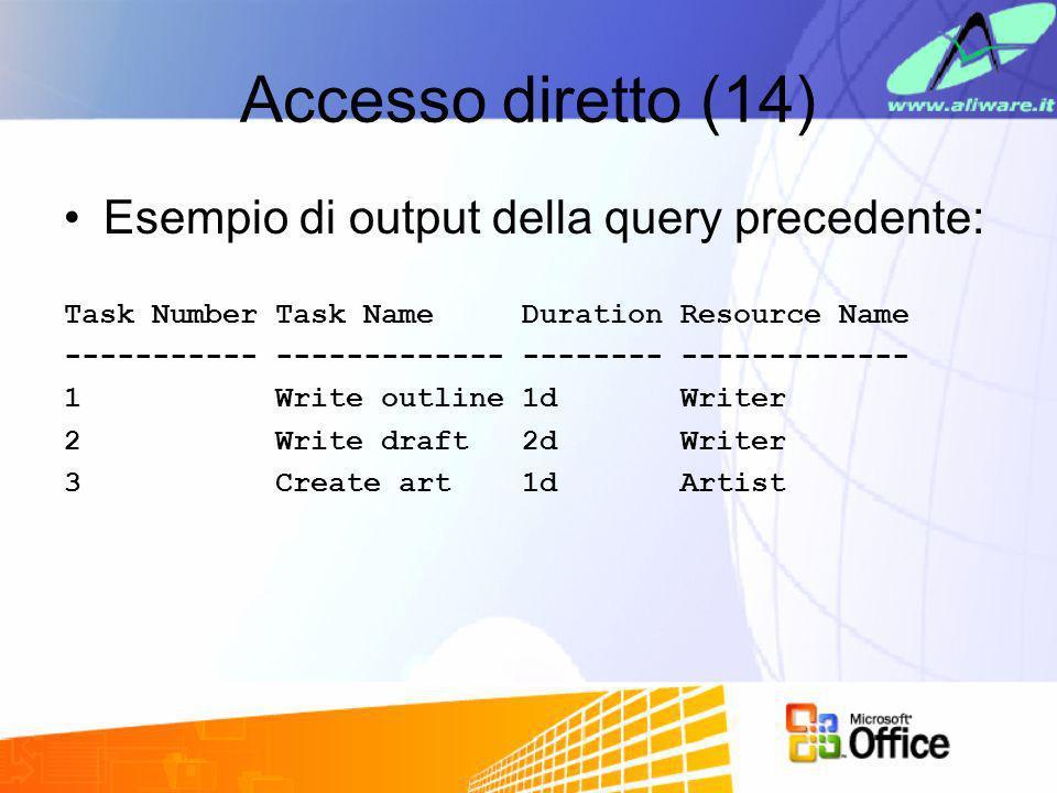 Accesso diretto (14) Esempio di output della query precedente: