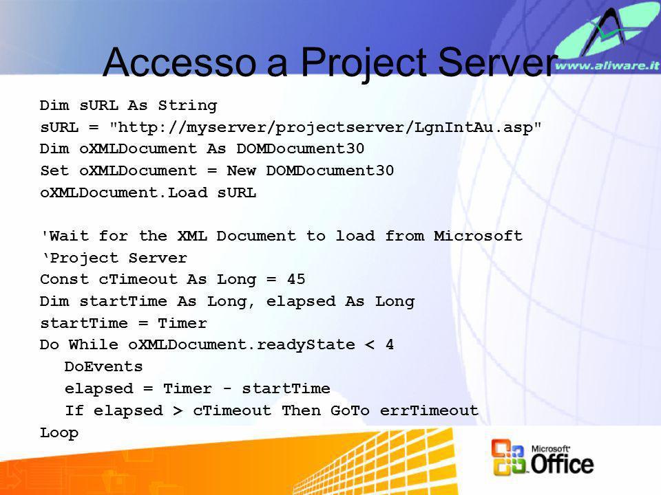 Accesso a Project Server