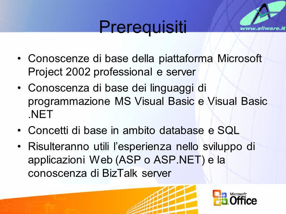 PrerequisitiConoscenze di base della piattaforma Microsoft Project 2002 professional e server.