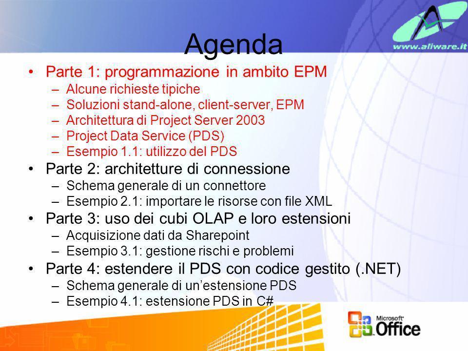 Agenda Parte 1: programmazione in ambito EPM