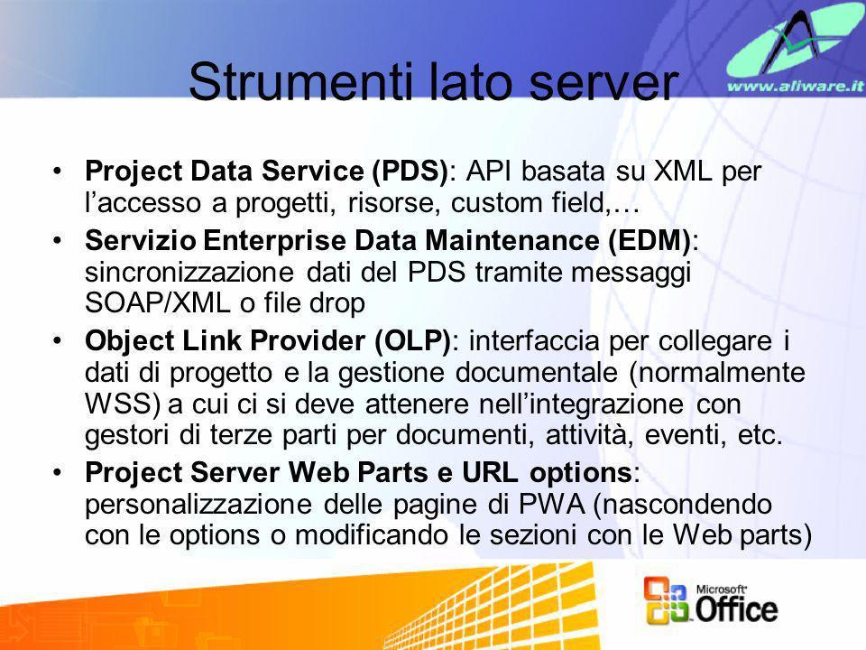 Strumenti lato serverProject Data Service (PDS): API basata su XML per l'accesso a progetti, risorse, custom field,…
