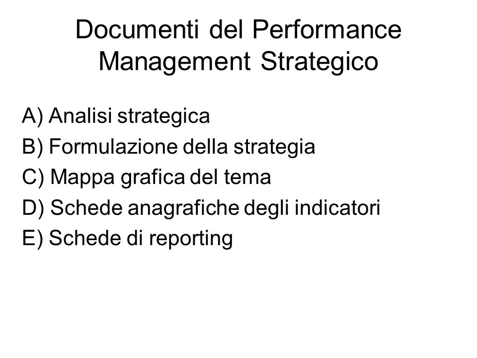 Documenti del Performance Management Strategico