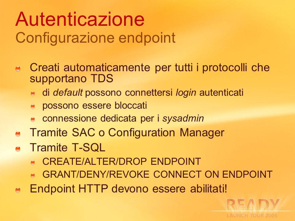 Autenticazione Configurazione endpoint