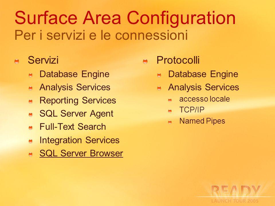 Surface Area Configuration Per i servizi e le connessioni