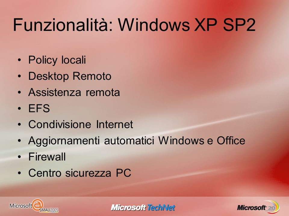 Funzionalità: Windows XP SP2