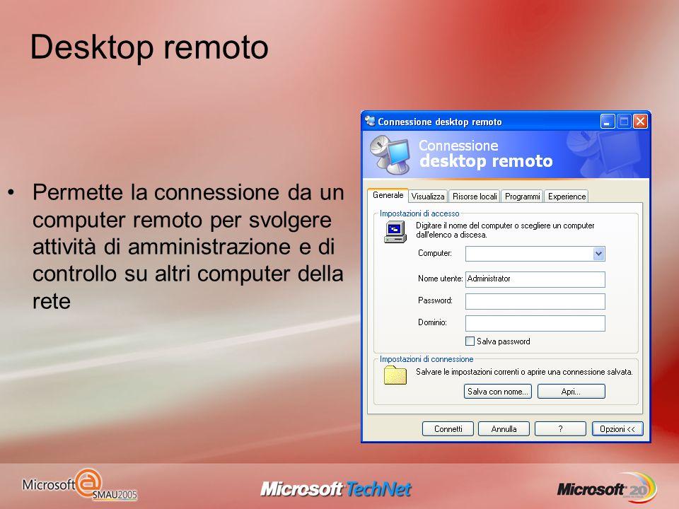 Desktop remoto Permette la connessione da un computer remoto per svolgere attività di amministrazione e di controllo su altri computer della rete.