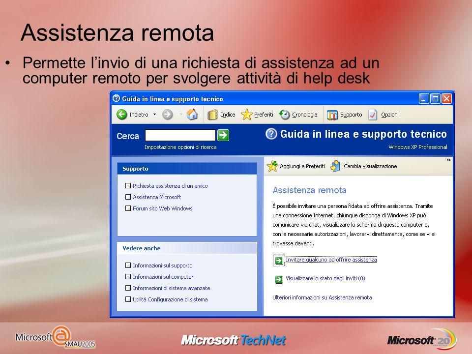 Assistenza remota Permette l'invio di una richiesta di assistenza ad un computer remoto per svolgere attività di help desk.