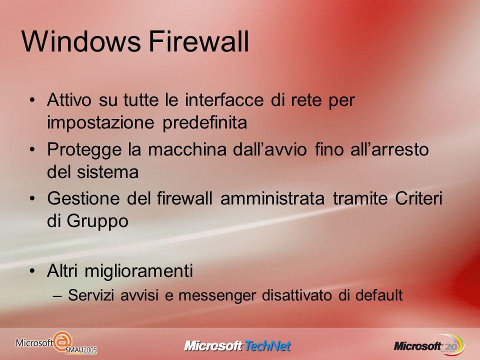 Windows Firewall Attivo su tutte le interfacce di rete per impostazione predefinita. Protegge la macchina dall'avvio fino all'arresto del sistema.