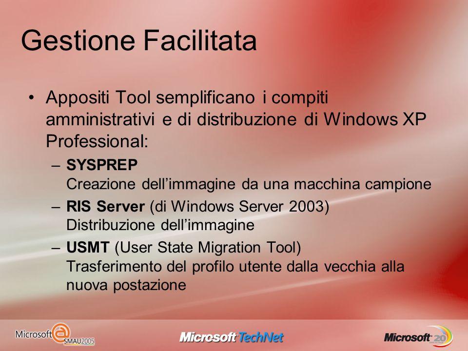 Gestione Facilitata Appositi Tool semplificano i compiti amministrativi e di distribuzione di Windows XP Professional: