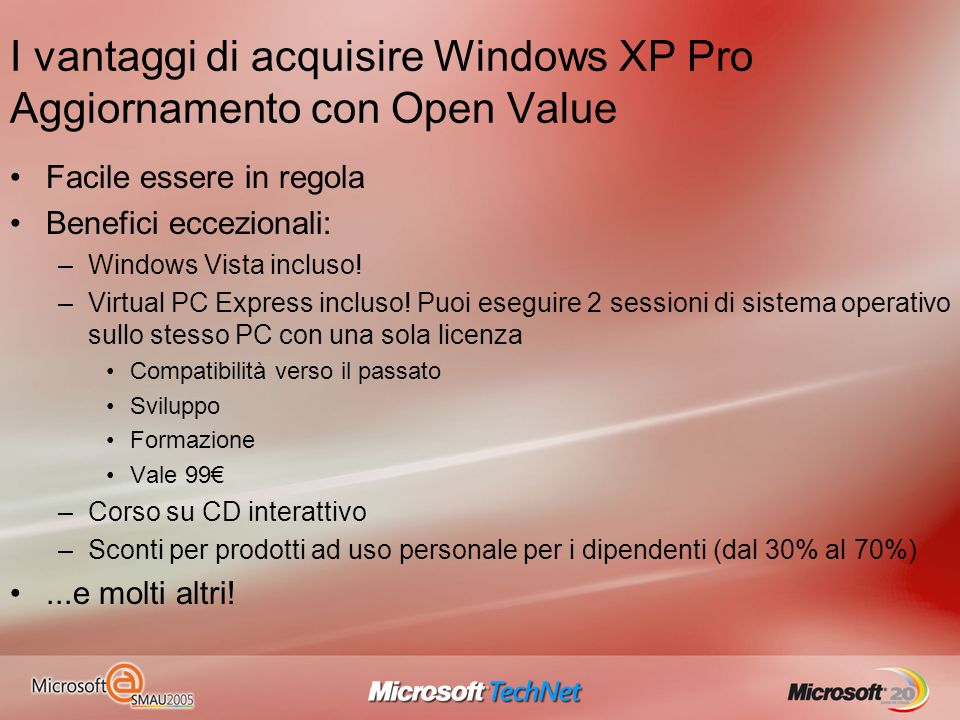 I vantaggi di acquisire Windows XP Pro Aggiornamento con Open Value