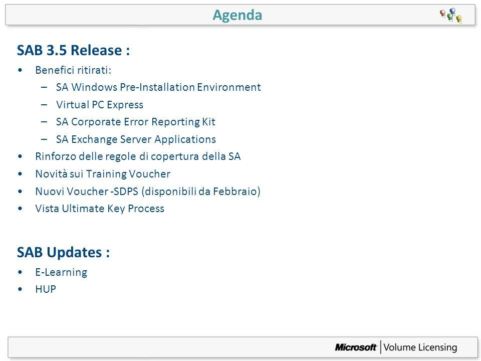 Agenda SAB 3.5 Release : SAB Updates : Benefici ritirati: