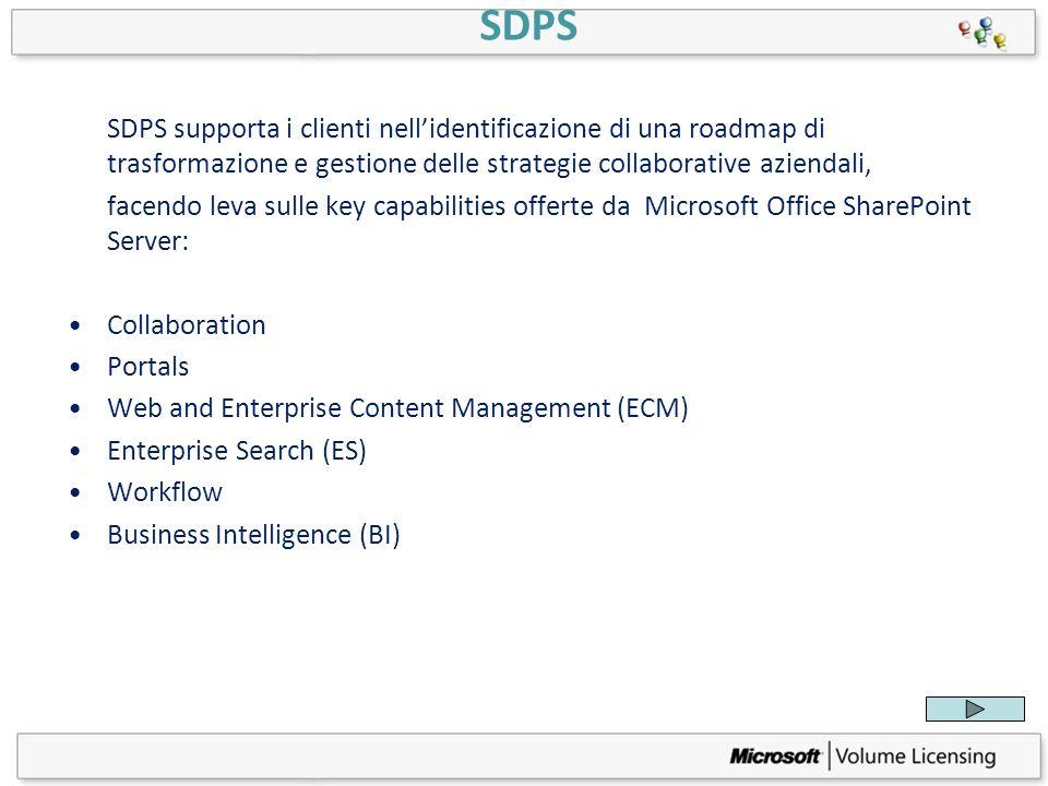 SDPS SDPS supporta i clienti nell'identificazione di una roadmap di trasformazione e gestione delle strategie collaborative aziendali,
