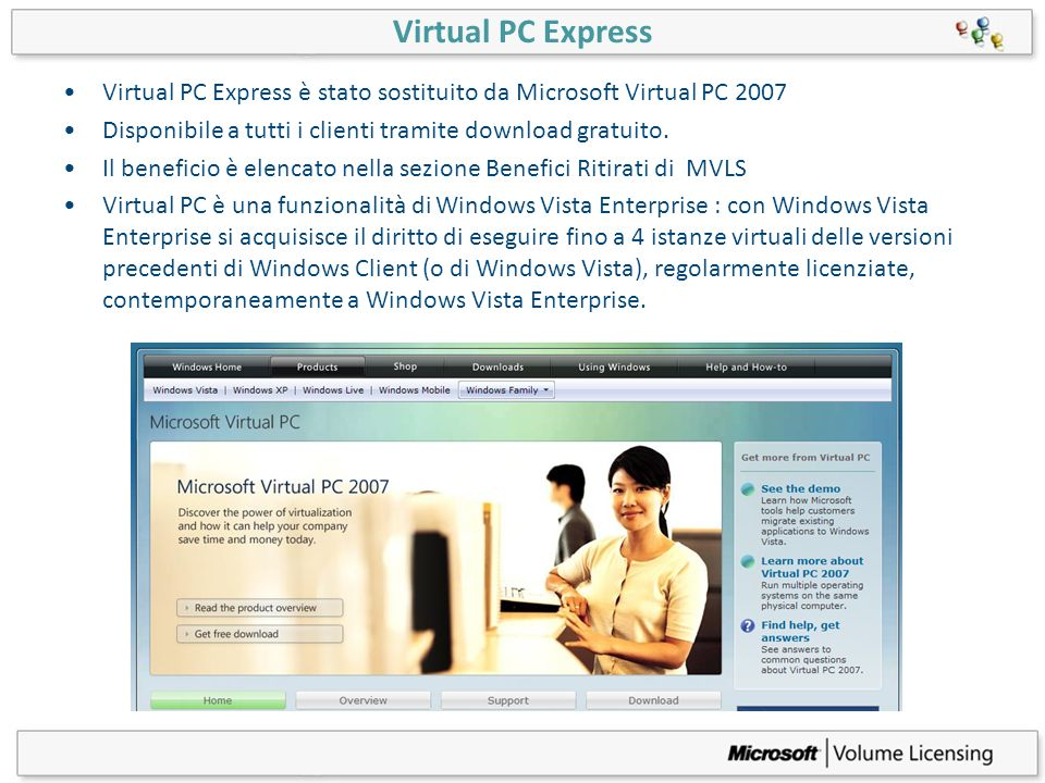 Virtual PC Express Virtual PC Express è stato sostituito da Microsoft Virtual PC Disponibile a tutti i clienti tramite download gratuito.