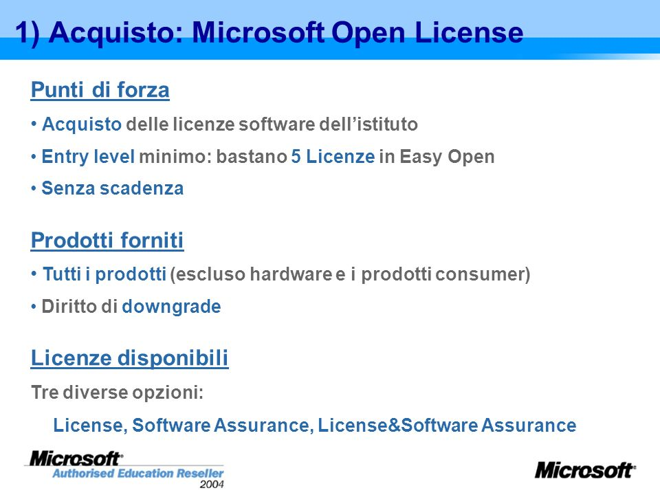 1) Acquisto: Microsoft Open License