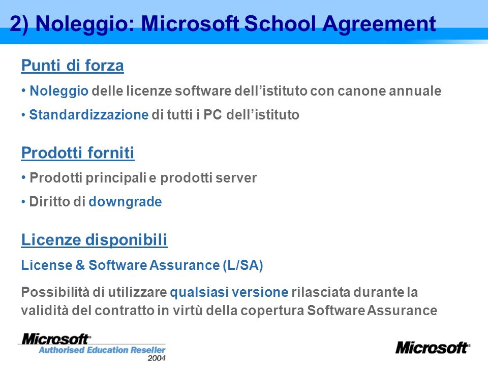 2) Noleggio: Microsoft School Agreement