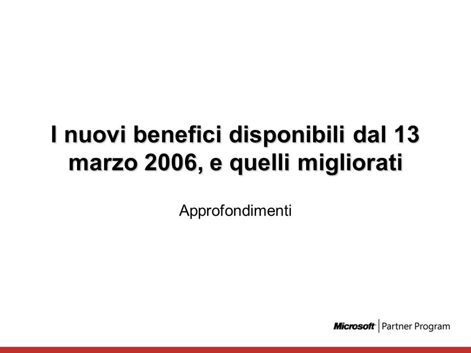 I nuovi benefici disponibili dal 13 marzo 2006, e quelli migliorati