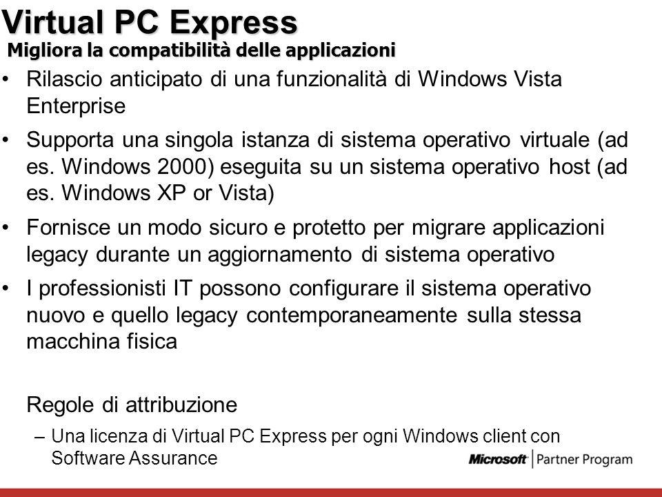 Virtual PC Express Migliora la compatibilità delle applicazioni. Rilascio anticipato di una funzionalità di Windows Vista Enterprise.